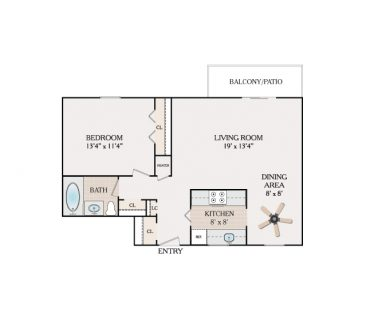 1 Bedroom 1 Bathroom - Alpine Section. 580-615 sq. ft.