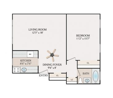 1 Bedroom 1 Bathroom - Hillside Section. 630 sq. ft.
