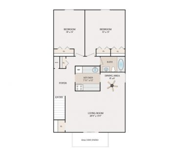 2 Bedroom 1 Bathroom - Alpine Section. 800-870 sq. ft.