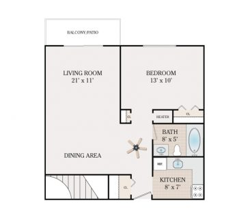 Jr. 1 Bedroom 1 Bathroom - Alpine Section. 564 sq. ft.